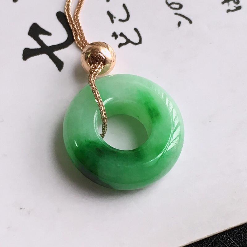 18k金平安环项链/天然翡翠A货,尺寸:16/5mm