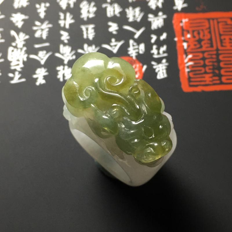 糯化种深黄翡貔貅戒指