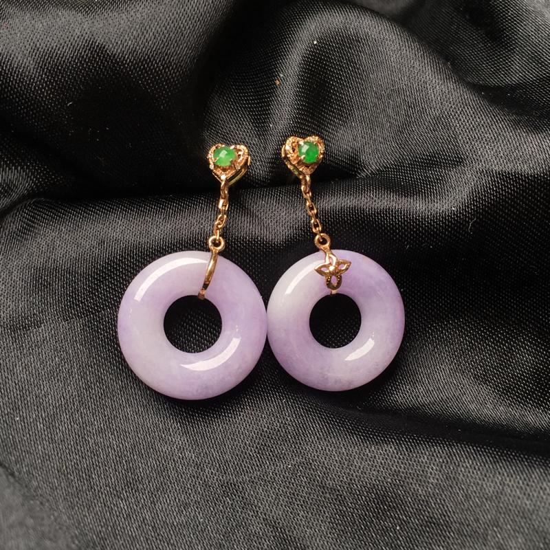 翡翠a货,紫罗兰平安环耳钉,18K金伴钻,款式新颖,颜色清爽,佩戴精美,性价比高