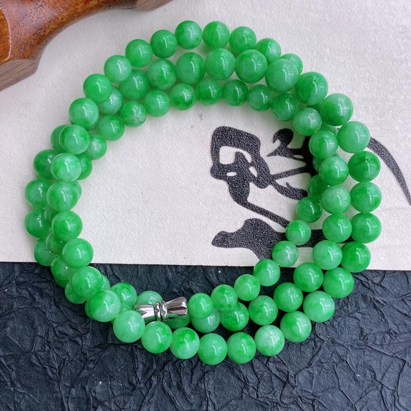 天然翡翠A货福气塔珠项链,珠子直径尺寸:6.5mm