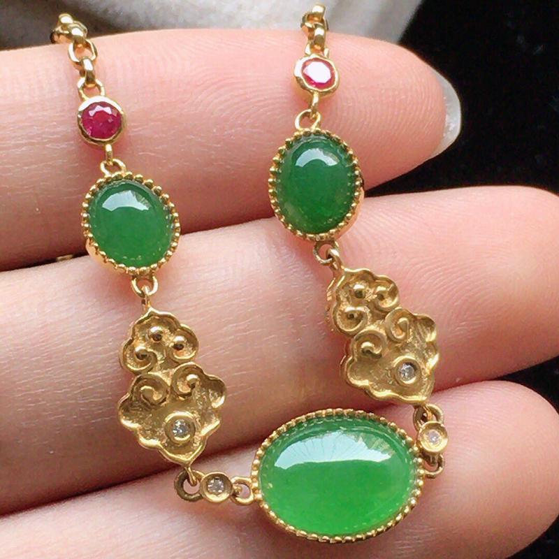 缅甸翡翠18K金伴钻镶嵌满绿蛋面手链,颜色好,玉质细腻,雕工精美,佩戴送礼佳品,包金尺寸: 14.9