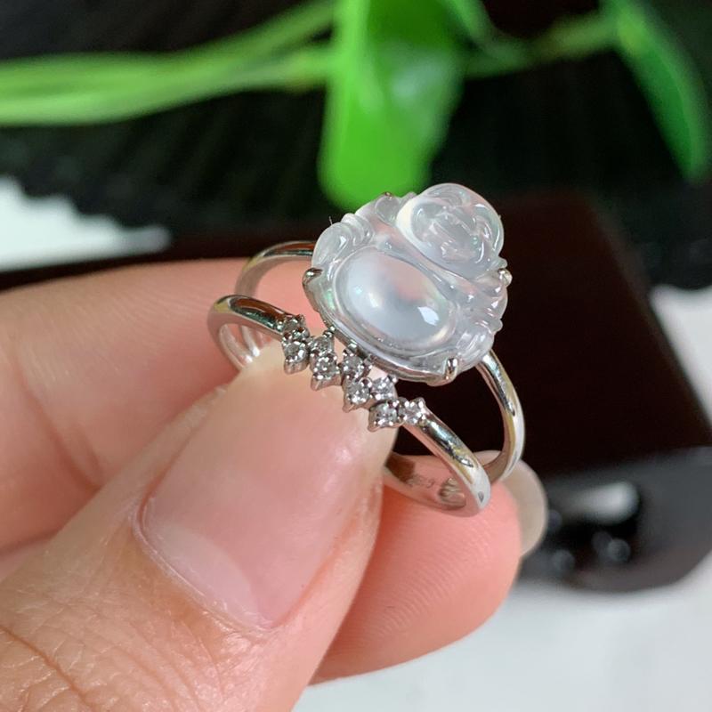 天然翡翠A货-冰种18K金镶嵌佛公戒指_种好,玉质细腻,水头饱满,冰透清爽,形体漂亮,水润精致,上手