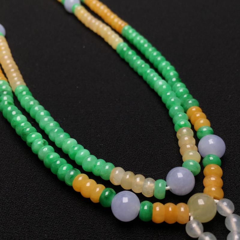 三彩算盘珠毛衣坠手链 规格直径卡4.5mm 厚2.4mm 种好,均匀,玉质细腻,基本完美,实物更耐看