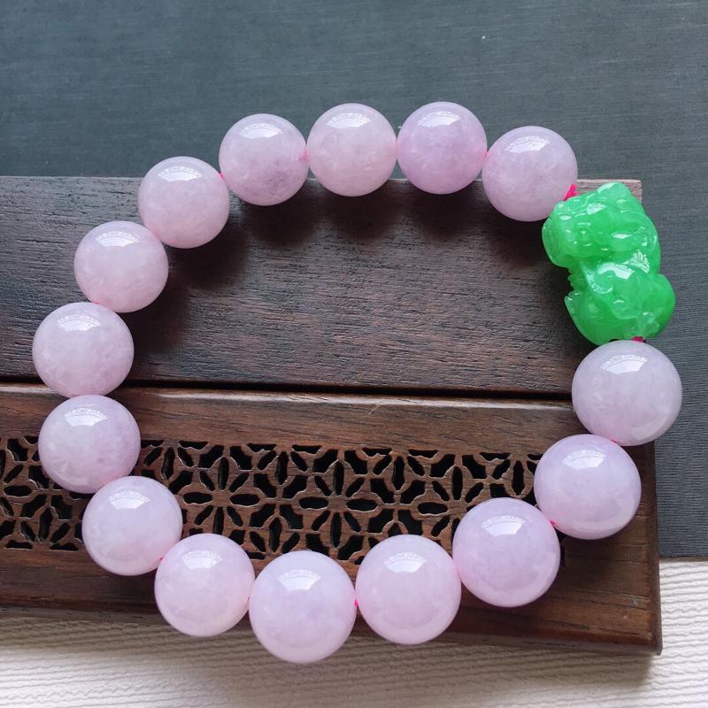 糯化种双彩招财貔貅圆珠手串, 料子细腻,雕工精美,颜色漂亮,  貔貅尺寸:21×12.5×7mm