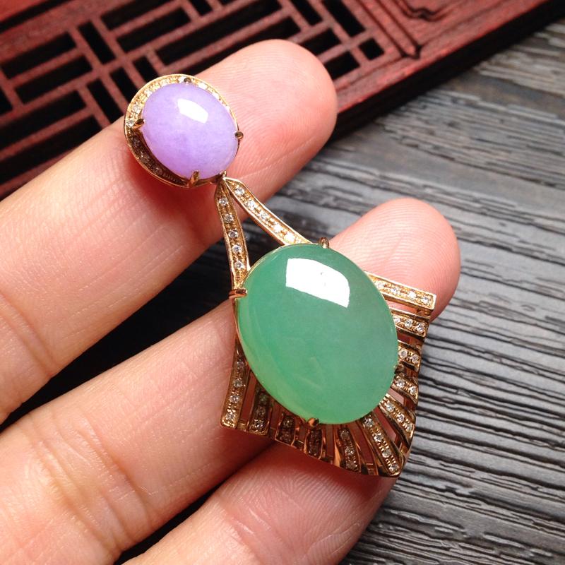 紫罗兰➕绿蛋面镶嵌吊坠,紫裸石10*8.5*5.5 绿18*14.5*6.5 整体46*24*11.