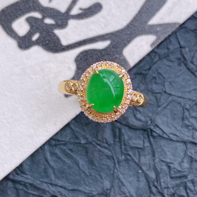 天然翡翠A货镶嵌18k金伴钻福气戒指,内径尺寸:18.5mm,含金尺寸:11.5*10.3*8.8m