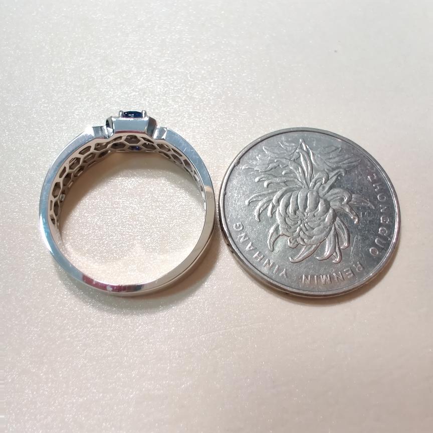 【【戒指】18k金+蓝宝石+钻石  宝石颜色纯正 货重:6.78g  主石:0.35ct  手寸:21】图5