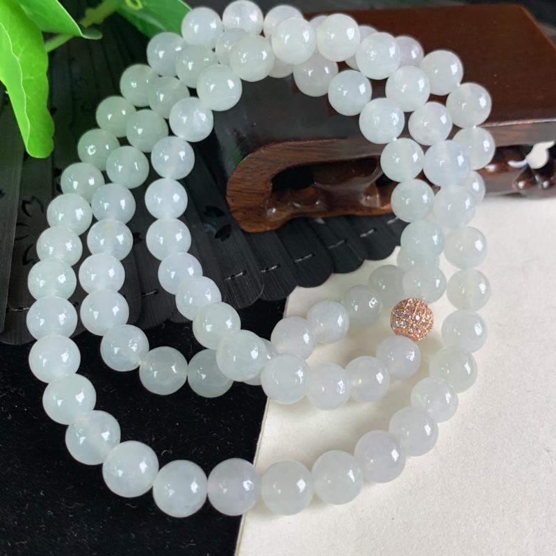 天然翡翠A货-冰润圆珠项链,种好,玉质细腻,水头饱满,形体漂亮,水润精致,上身效果极佳,尺寸8.3m