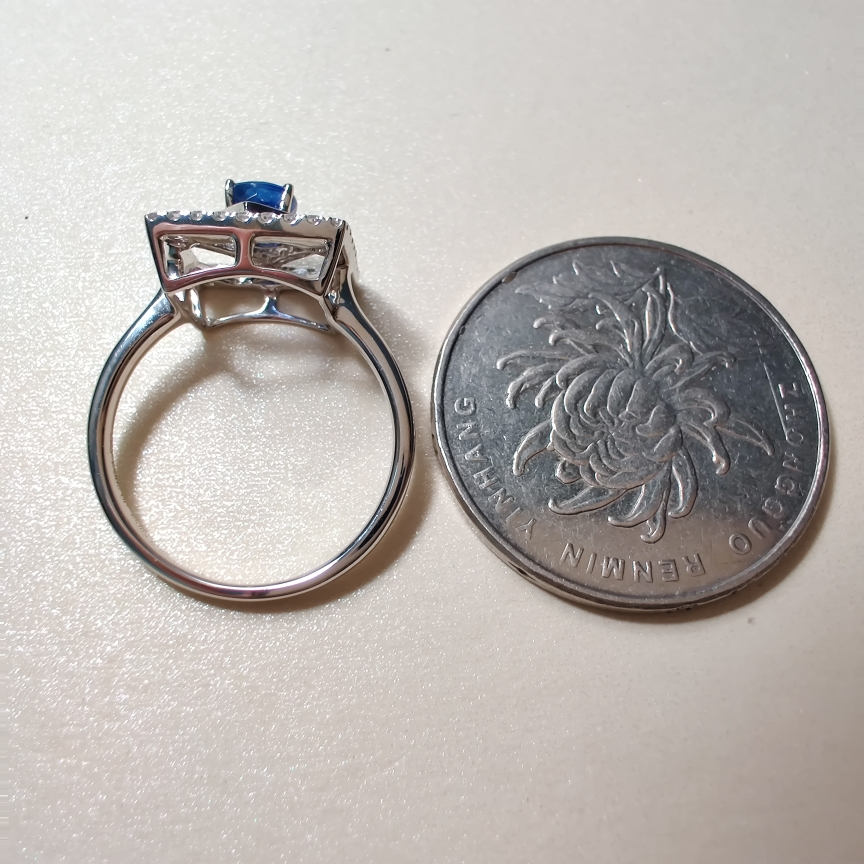 【【戒指】18k金+蓝宝石+钻石  宝石颜色纯正 货重:3.48g  主石:0.59ct  手寸:13】图5