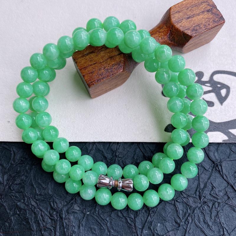 天然翡翠A货满绿福气塔珠项链,珠子直径尺寸:6.8mm