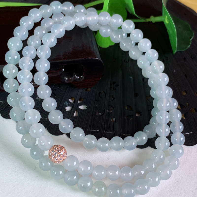 天然翡翠A货-冰润圆珠项链_种好,玉质细腻,水头饱满,底子干净,形体漂亮,水润精致,上身效果极佳,尺