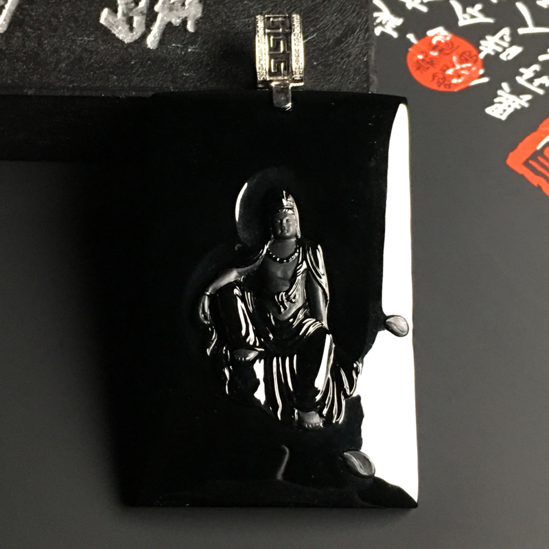 冰种墨翠自在观音吊坠 黑度佳 雕工精湛 打灯通透 翠色艳丽 质地细腻 含金扣尺寸64-33.7-6毫