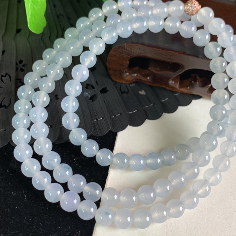 天然翡翠A货-冰润圆珠项链_种好,玉质细腻,水头饱满,冰透清爽,形体漂亮,水润精致,上身效果极佳,尺