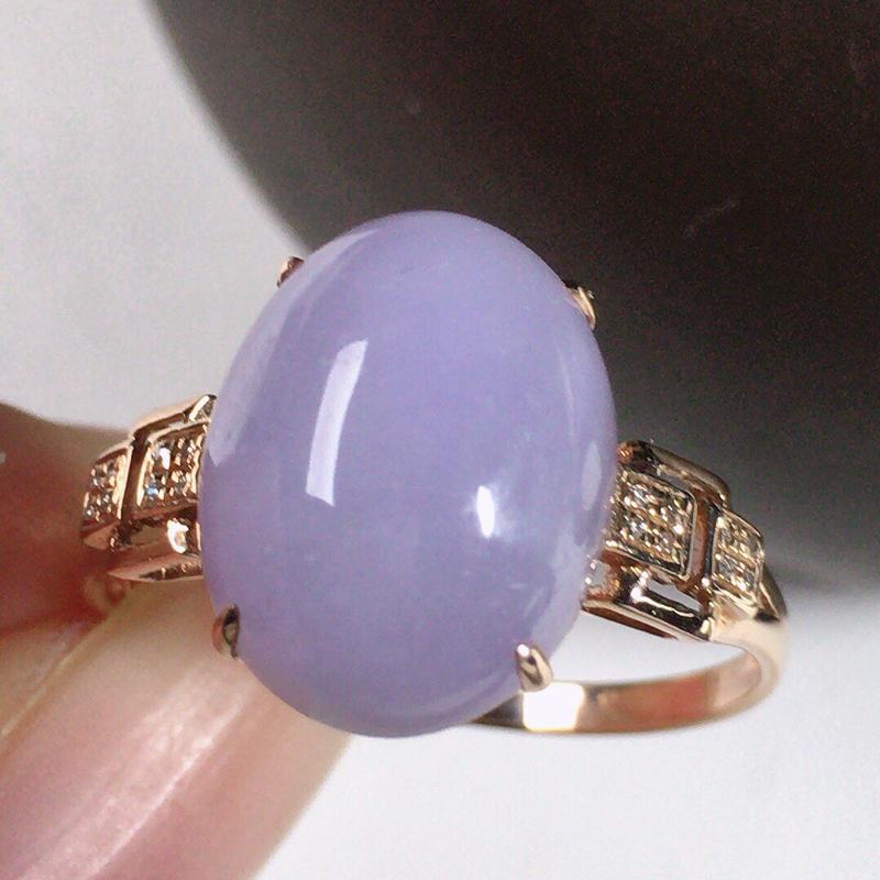 缅甸翡翠圈口18k金伴钻镶嵌紫罗兰蛋面戒指,颜色漂亮,玉质莹润,佩戴佳品,内径:17.1mm(可免费