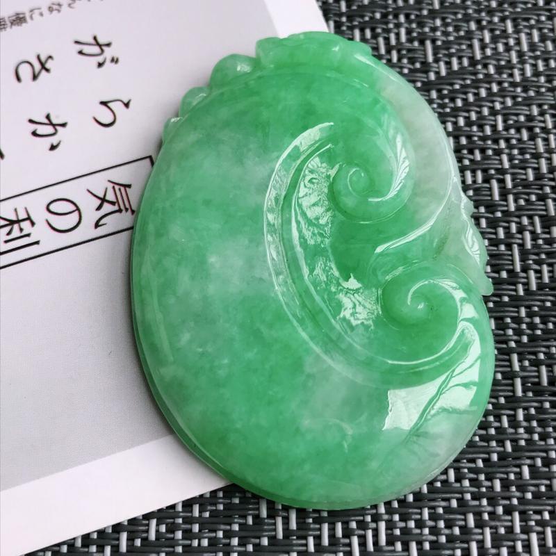 满绿吉祥如意吊坠天然翡翠A货,尺寸:52.3/37.5/6.7mm