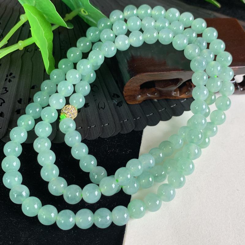 天然翡翠A货-满绿圆珠项链_种好,玉质细腻,色彩迷人,形体漂亮,水润精致,上身效果极佳,尺寸7.8m