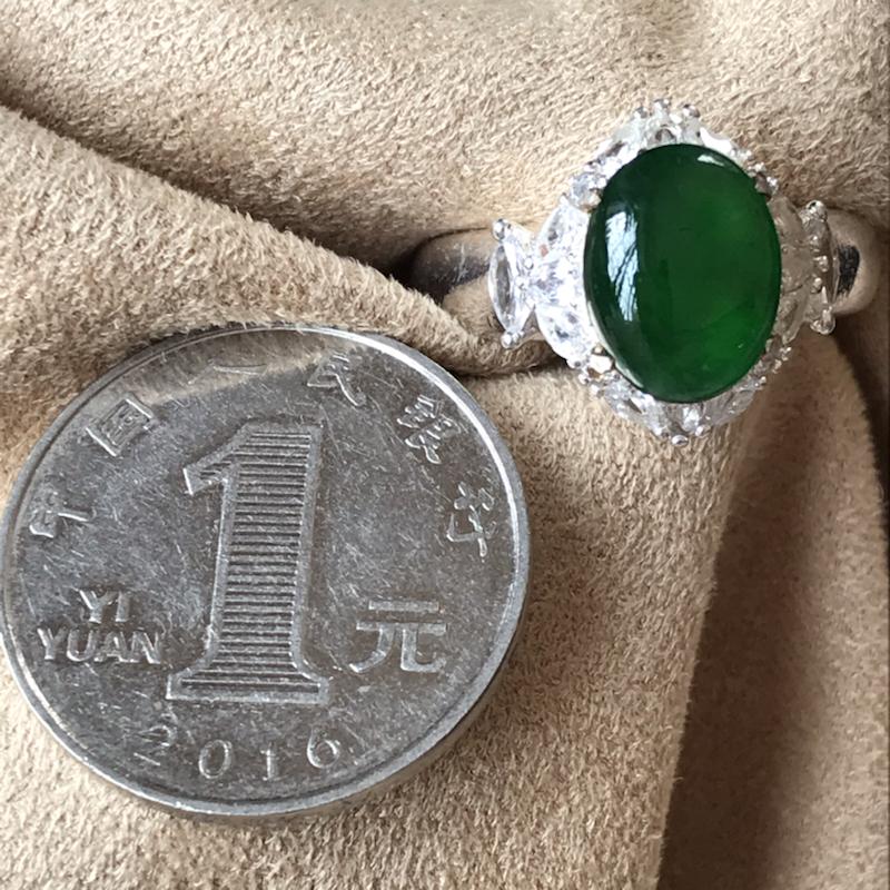 缅甸一手货源 翡翠A货 冰阳绿翡翠裸石(铜托镶嵌)水头十足 镶嵌效果极佳