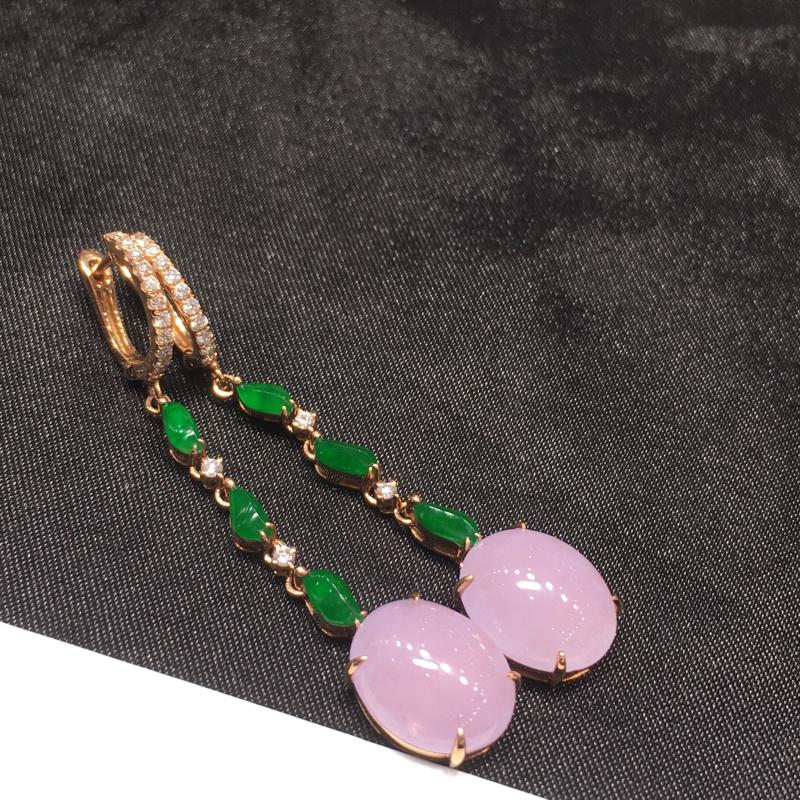 一对紫冰耳坠,紫气东来,完美,底庄细腻,18K玫瑰金南非真钻镶嵌,性价比高,推荐,尺寸48.5*9.