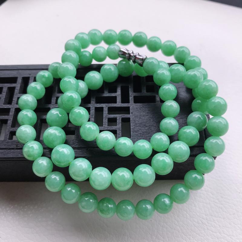 糯种满绿圆珠项链,直径7.7,雕工精细 玉质细腻水润,底色漂亮,种水好