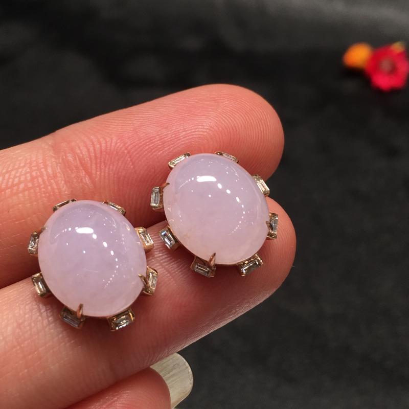 一对紫罗兰耳钉,紫气东来,完美,底庄细腻,18K玫瑰金镶嵌,性价比高,推荐,尺寸15*12.6*6.