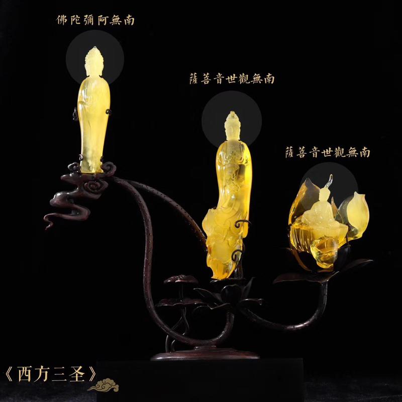 罕见收藏级【西方三圣】蜜蜡大摆件 雕刻生动形象,密度饱满浓厚,色泽金黄油润,全品无杂无裂,孤品收藏,