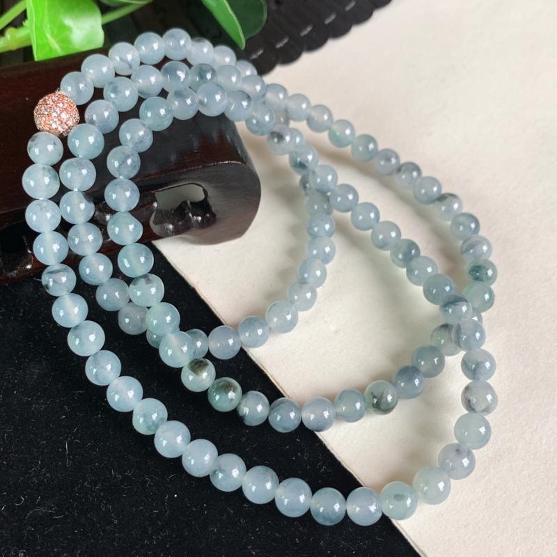 天然翡翠A货-种好飘花圆珠项链_种好,玉质细腻,水头饱满,水润飘花,形体漂亮,水润精致,上身效果极佳