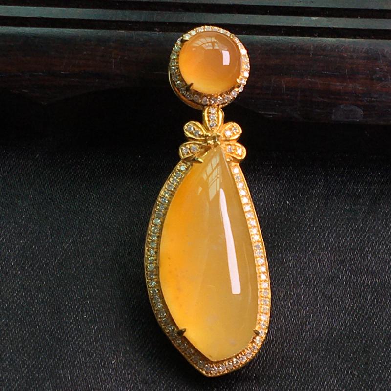 天然翡翠A货,18K金伴钻镶嵌,黄翡随形吊坠,料子细腻,冰透水润,豪华镶嵌,性价比高,