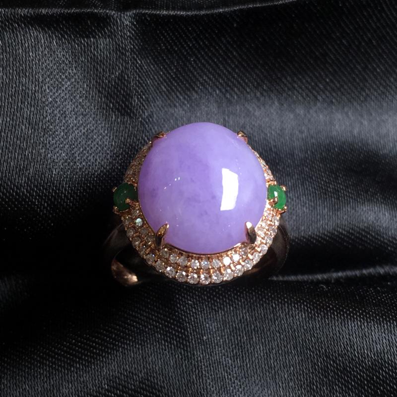 翡翠a货,紫罗兰蛋面戒指💍,18k金镶嵌,种水一流,佩戴精美