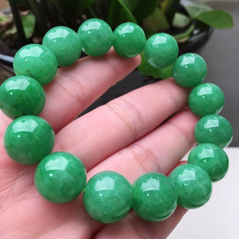 老坑满绿圆珠翡翠手链手串,水头好,珠子直径14.3mm,共15颗,重78.16g