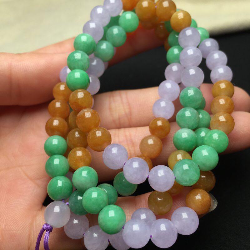 特色三色彩翡翠珠链项链 料子细腻 颜色漂亮 纹裂少 完美度高 周长68 圆珠直径6.5