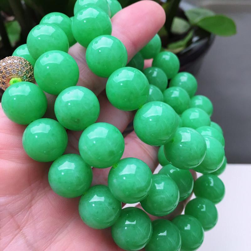 好种水阳绿圆珠翡翠项链,长630mm,珠子直径13.0mm,共46颗,重182.49g