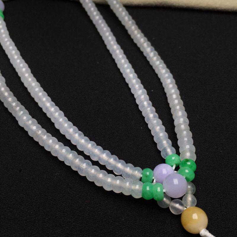 冰种算盘珠毛衣链 珠链 规格直径卡4.5mm 厚2.4mm种好 玉质细腻 冰透水润 基本完美 实物更