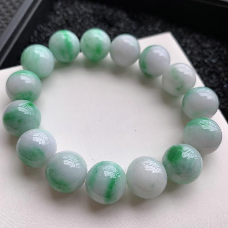 🙏缅甸天然翡翠A货   白底青带阳绿圆珠手链,克重:88.84,尺寸15.2mm,共15个,寓意峰回