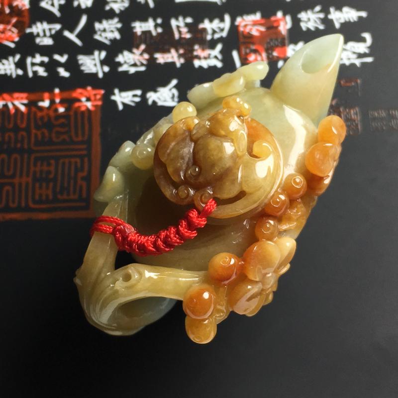 糯种黄翡精美茶壶摆件