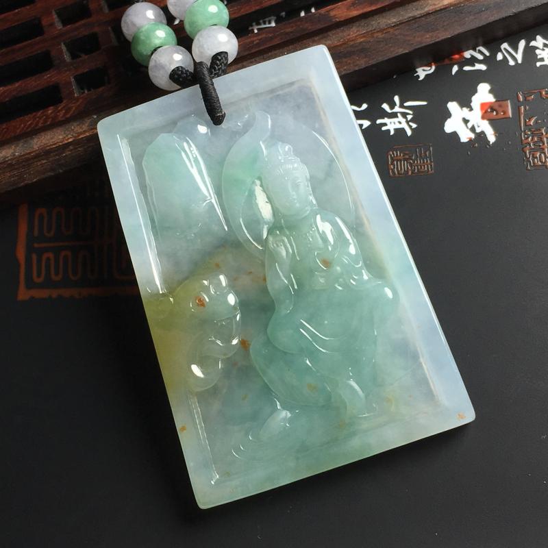 细糯种双彩观音吊坠 尺寸56-39-4.5毫米 玉质水润 色彩鲜明