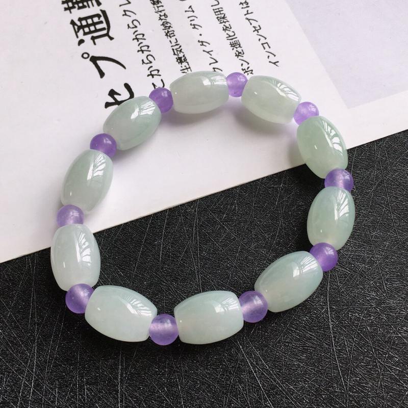 种水好路路通手链,天然翡翠A货,尺寸:14.3/10.4mm,隔珠是装饰品