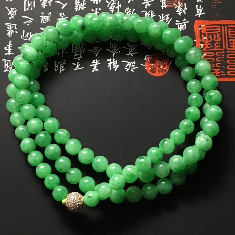 细糯种满色珠链 108颗 直径6.5毫米 玉质细腻 翠色艳丽