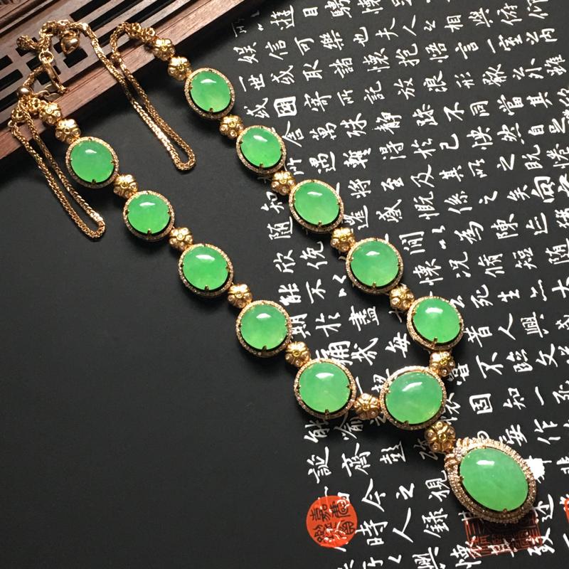 冰糯种满绿蛋面项链 18K金钻石镶嵌 12颗 裸石尺寸15.5-12-9毫米 水润冰透 翠色艳丽