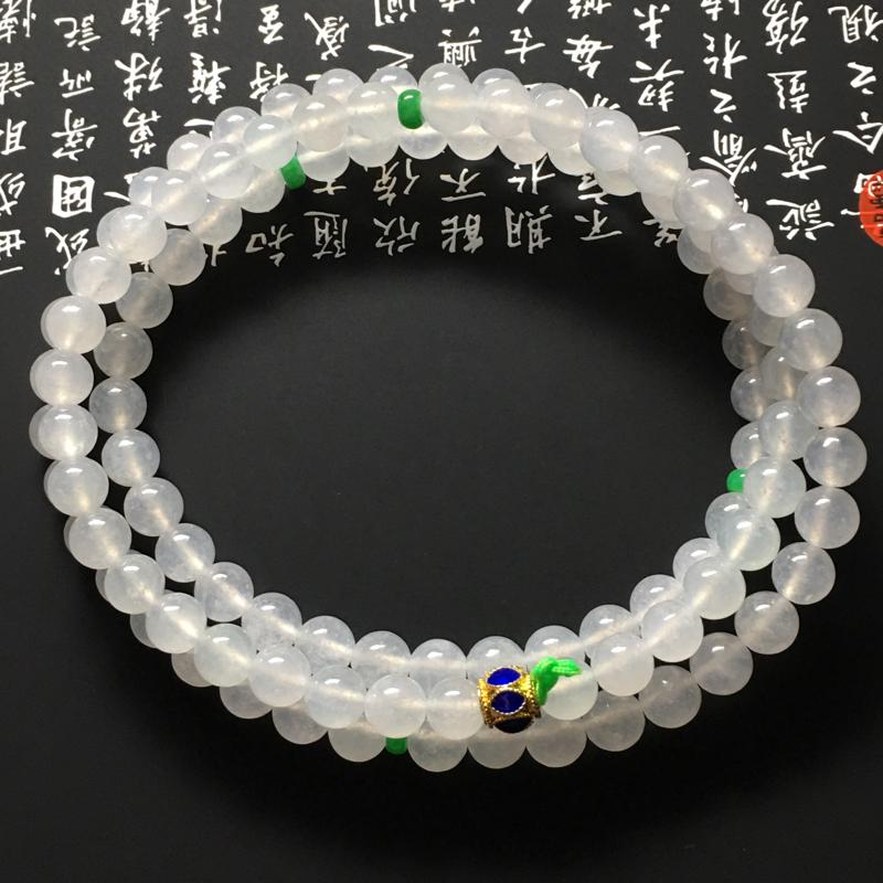 冰糯种佛珠项链 108颗 直径6.5毫米 水润冰透 色彩清爽