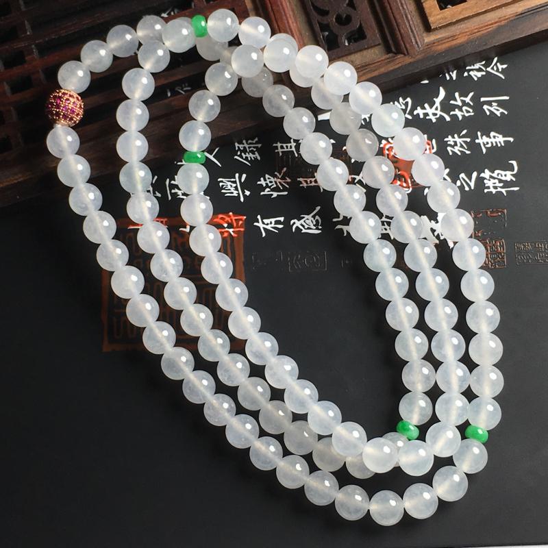 冰种佛珠项链 佛珠直径6.5毫米 水润通透