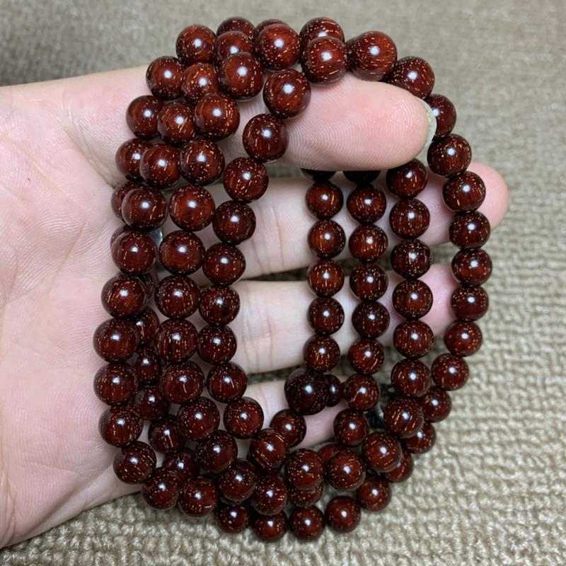 印度小叶紫檀0.8x108颗念珠鸡血红爆满金星 精挑细选😍😍😍 品质一流油性十足。