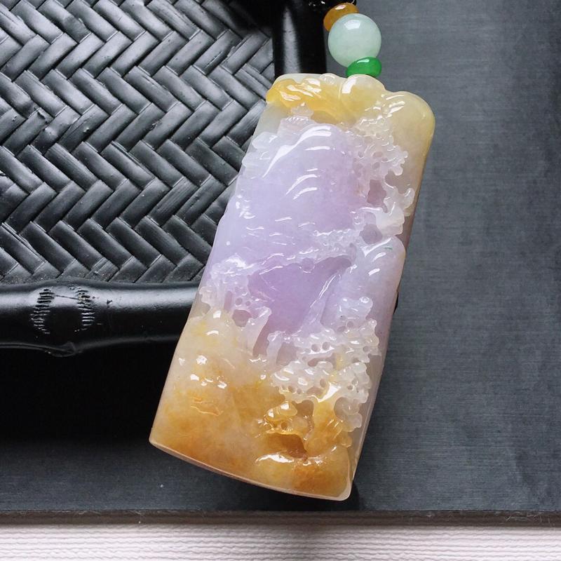 糯化种紫罗兰+黄翡厚装山水人家吊坠,缅甸天然翡翠A货. 品相好,料子细腻,雕工精美。颜色漂亮。尺寸: