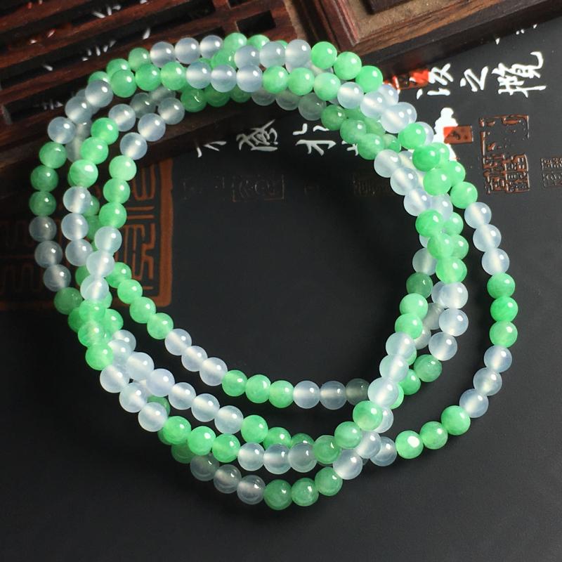 糯化种双彩佛珠项链