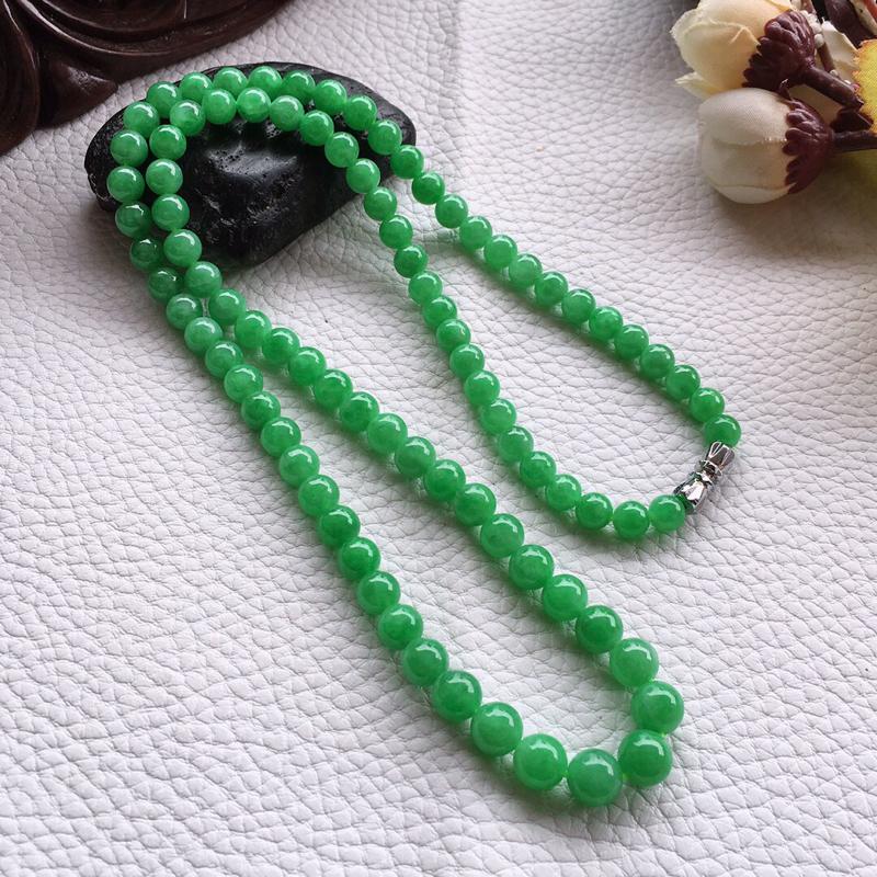 精品翡翠项链,雕工精美,玉质莹润,尺寸:链长:540MM,玉:7.2MM,总质量:39.3g
