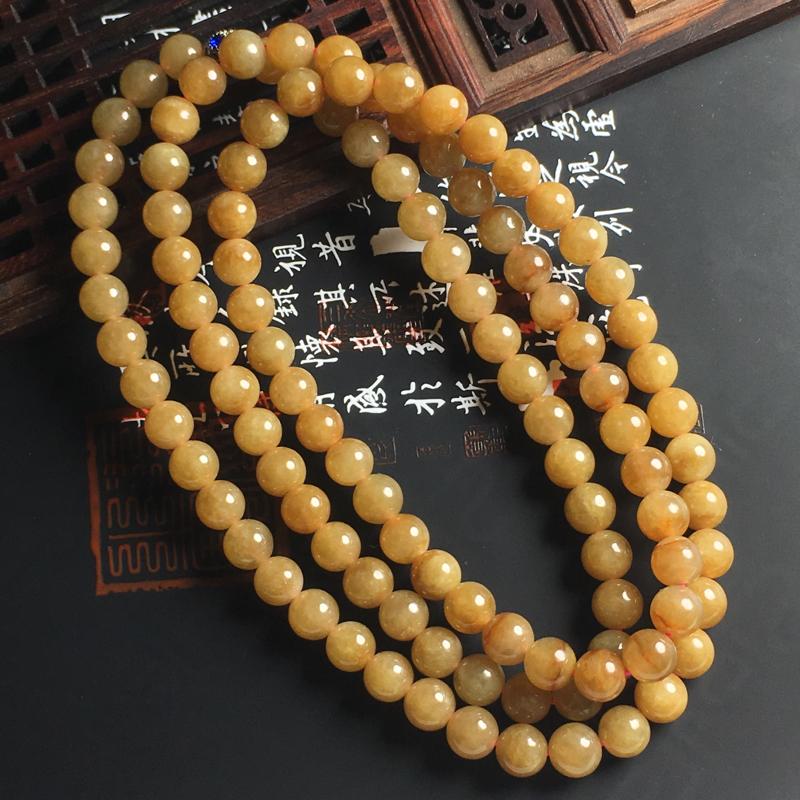 糯种黄翡佛珠项链