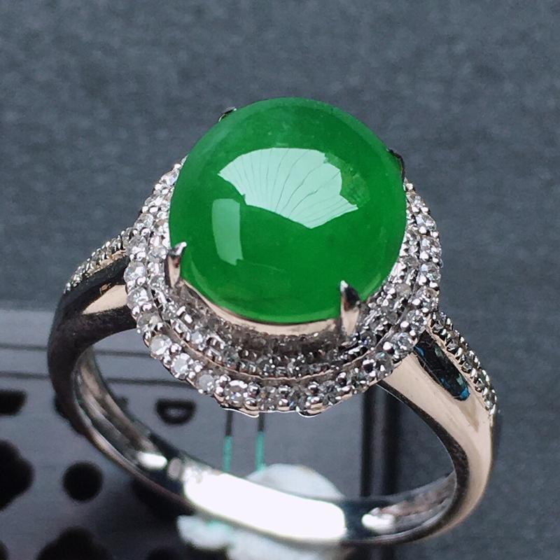 缅甸翡翠16圈口18k金伴钻镶嵌满绿蛋面戒指,颜色漂亮,玉质莹润,佩戴佳品,内径:16.7mm(可免