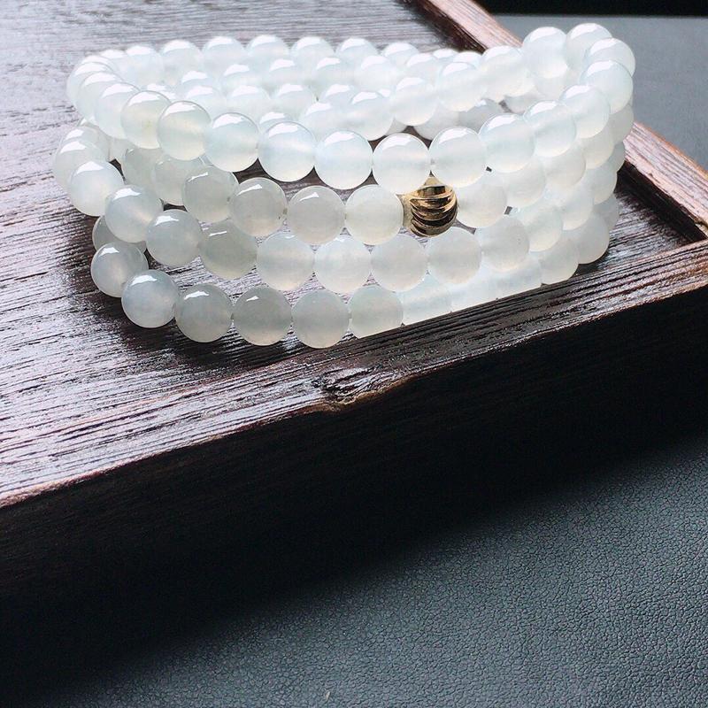 缅甸翡翠圆珠项链(铜扣),玉质莹润,佩戴佳品,单颗尺寸:7.0mm,108颗,重73.86克