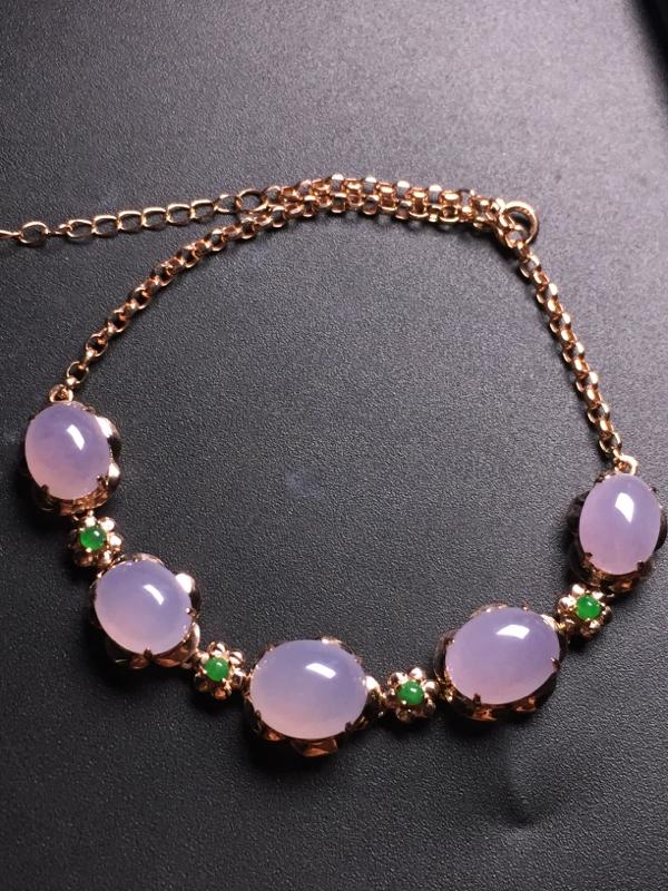 紫罗兰蛋面手链,18k真金真钻镶嵌,完美,种水超好,玉质细腻。
