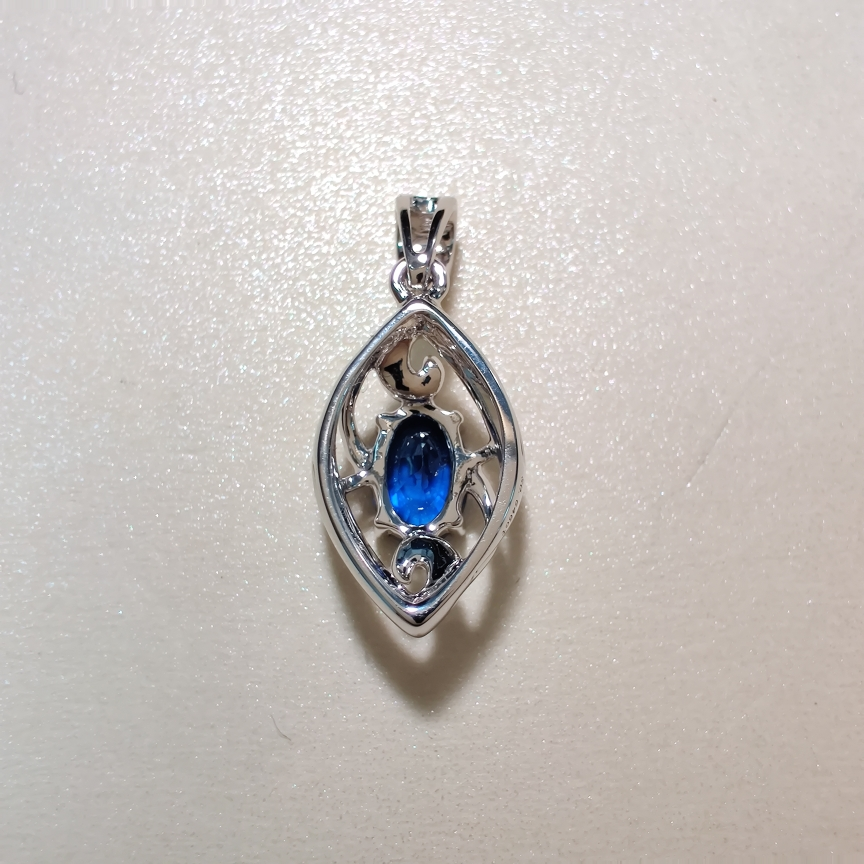 【【吊坠】18k金+蓝宝石+钻石  宝石颜色纯正(不含链子) 货重:1.39g  主石:0.64ct】图4