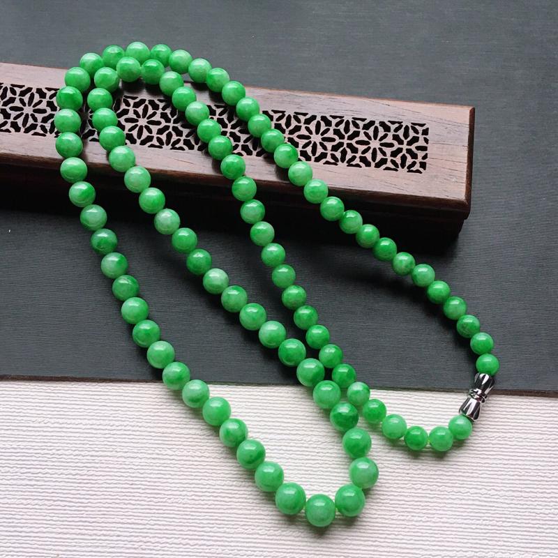 糯化种满绿色塔珠项链吊坠, 缅甸天然翡翠A货. 品相好,料子细腻,雕工精美。颜色漂亮,长560mm.